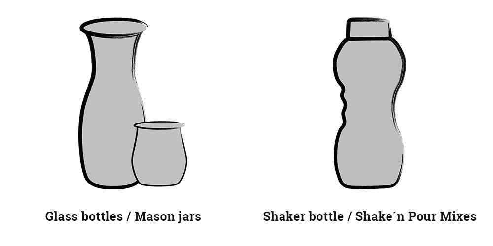 Glass bottles and Shaker bottles