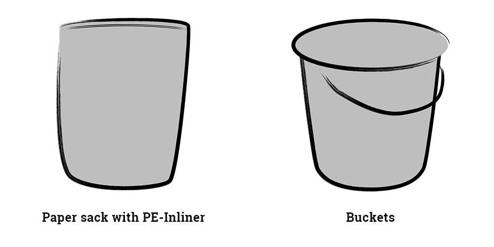 Paper sack and Buckets