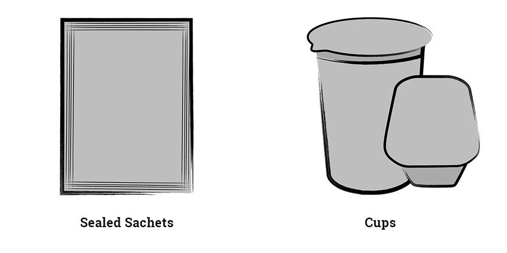 Sealed Sachets and Cups