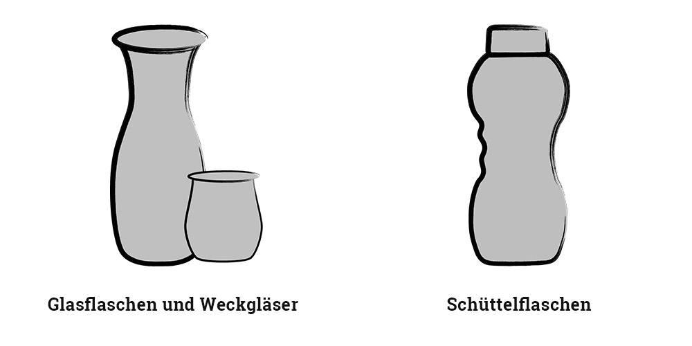 Glasflaschen, Weckgläser und Schüttelflaschen