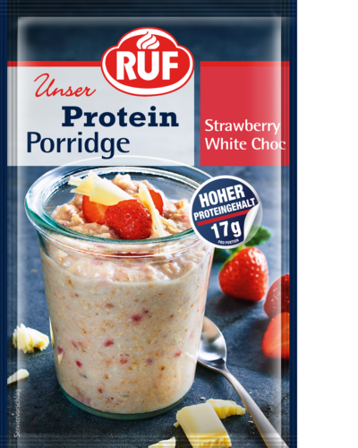 Strawberry White Choc Protein Porridge