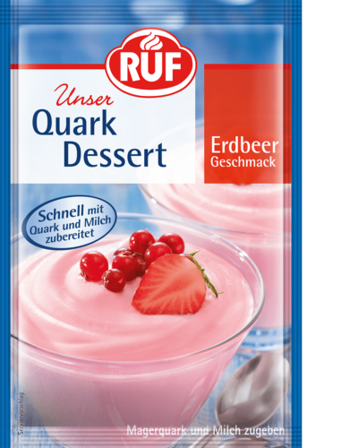 Strawberry-flavoured quark dessert